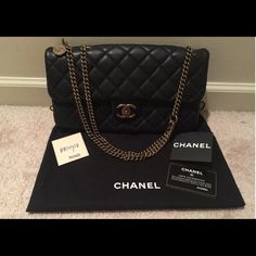 Chanel CC Crown Black Flap Bag Used - 100% authentic or your money back…