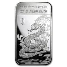 UMA BARRA DE PRATA PURA 999 5 ONÇAS (155,50 GRAMAS) ANO DA COBRA 2013- HOROSCOPO CHINES- UNC !!!