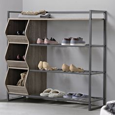 Shoe Rack Ideas - If you have a magnificent shoe collection in your house, a shoe organizer option is essential to keep them all under control. 4 Shelf Shoe Rack, 4 Tier Shoe Rack, Metal Shoe Rack, Diy Shoe Rack, Shoe Storage Cabinet, Bench With Shoe Storage, Storage Bins, Shoe Racks, Homemade Shoe Rack