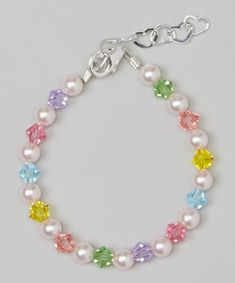 Crystal Dream Stylish Pink Swarovski Simulated Pearls and Multicolor Crystals Sterling Silver Baby Girl Bracelet Gift BMCB_L * Learn more by visiting the image link. Baby Bracelet, Pearl Bracelet, Beaded Jewelry Patterns, Bracelet Patterns, Bead Jewellery, Pearl Jewelry, Jewlery, Crystal Bracelets, Sterling Silver Bracelets