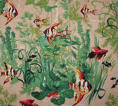 Cushion to be....vintage fabric mid-century, fish aquarium retro kitsch novelty print