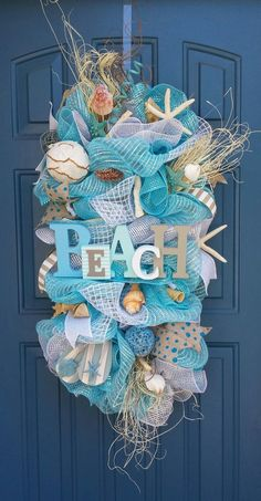 Beach/Summer deco mesh wreath  beach swag  by #Christmas Decor| http://christmas-decor-styles.lemoncoin.org