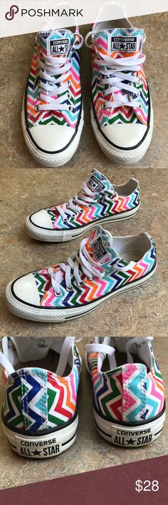 Chevron Converse size 7. Rare and hard to find These are the most adorable converse. They have a multi-color chevron pattern and are in excellent condition Converse Shoes Athletic Shoes