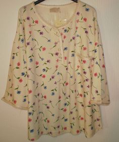 f1493af6740 Peacocks Cream Floral Flowers Pattern Embroidery Tunic Top Size 22-24  Summer Clothes, Summer
