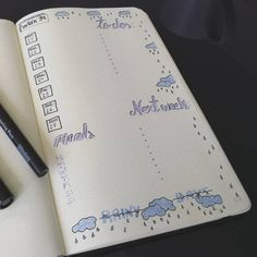 Rainy day weekly spread bullet journal. ️