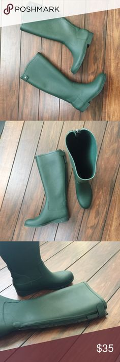 J. Crew Weatherby Rubber Rain Boots J. Crew rain boots with back zipper and snap closure. Only used a couple times. Beautiful forest green color. J. Crew Shoes Winter & Rain Boots
