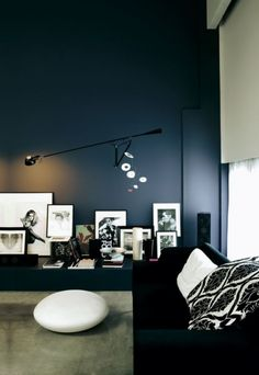 Dark walls with pops of white