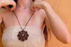 Talisman mandala macrame pendant whit amber from by LunaticHands