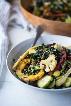 Roasted fall vegestable salad with maple curry dressing #healthyfoods #saladideas #fallrecipes