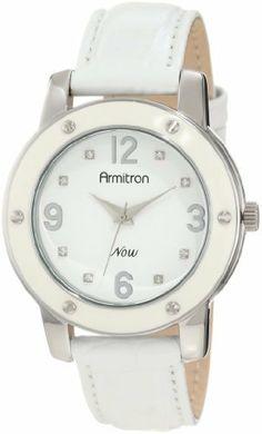 Armitron Women's 753885WTSVWT Swarovski Crystal Silver-Tone and White Enamel Strap Watch Armitron. $29.99