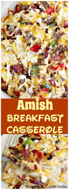 Amish Breakfast Casserole | Can't Stay Out of the Kitchen | one of the tastiest most delightful #breakfast #casseroles ever! This one uses 2 meats and 3 cheeses! Fabulous for #holiday breakfasts. Breakfast Cassarole, Breakfast Meat, Gluten Free Breakfast Casserole, Rice Breakfast Recipes, Yummy Breakfast Ideas, Sausage And Rice Casserole, Cottage Cheese Breakfast, Christmas Breakfast Casserole, Gluten Free Quiche