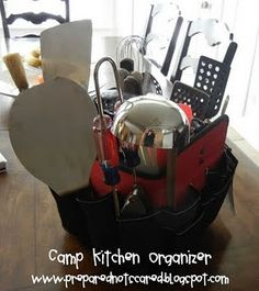 camp kitchen organizer   Here's What You'll Need:  A Tool Organizer that fits over a bucket. (She found the one in the picture at Home Depot.)  You will also need Cooking Supplies.  The dividers make it nice for organizing:  Spatulas  Tongs  Spices and Seasonings  Salt and Pepper  Spoons  Basters  Knives  Ladles  Measuring Cups and Spoons  Egg Timer  Hot Pads  Kitchen Shears  Funnel  and whatever else you use in your kitchen!  It will hold everything you need  but the kitchen sink!!!