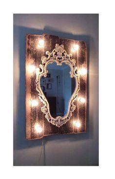 Dark Wood Shabby Chic Decorative Light Up Vanity by marqueemarket