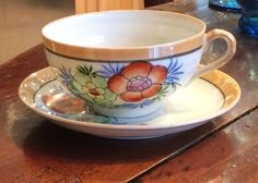 Antique JAPAN 10 FLORAL PEACH BANDED LUSTERWARE  Porcelain Cup Saucer ESTATE #Asian #Unknown