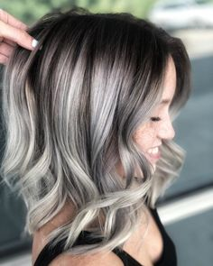40 Silver Hair Color Ideas & Trends: Highlights Styles and Colored Curly Hair, Long Curly Hair, Curly Hair Styles, Silver Hair Highlights, Platinum Highlights, Blonde Highlights, Dark Silver Hair, Color Rubio, Spring Hairstyles