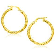 14K Yellow Gold Tube Textured Design Hoop Earrings SKU: 14k-yellow-gold-tube-textured-design-hoop-earrings These hoop earrings feature a classic round design with a textured twist-like surface. Designed in 14K yellow gold and secured with snap style locks.<br><br><b>Metal Name: </b>Yellow Gold<br><b>Metal Content: </b>14K<br><b>Width: </b>1.00 in<br><b>Length: </b>1.13 in<br><b>Backing: </b>Snap Lock<br>