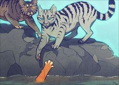"""Longtail saving Fireheart  """" longtail help!""""  """" firestar, your not a riverclan cat!"""""""