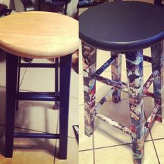 Crafting a thrift store stool with mod podge and some comic books