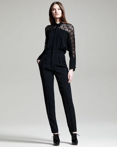 Fall Trends*                                                                 Lace In Black~ Malachite Lace-Inset Jumpsuit by Roland Mouret at Neiman Marcus.