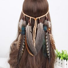 Indian Real Feather Headband Beads Headpiece Feathers Extension Party Headdress  #Unbranded #Feather