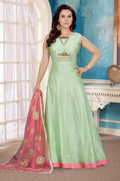 Be an angel and create and establish a smashing effect on any person by carrying this sea green art silk designer gown. You will see some intriguing patterns completed with handwork work. Churidar Suits, Anarkali Suits, Salwar Kameez, Designer Gowns, Designer Wear, Buy Gowns Online, Saree Draping Styles, Indian Gowns, Indian Bridal Wear