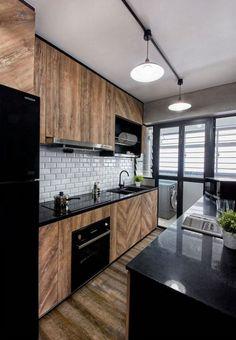55 modern apartment interior ideas that grab everyone's attention 51 Farmhouse Style Kitchen, Modern Farmhouse Kitchens, Home Decor Kitchen, Rustic Kitchen, Kitchen Ideas, Kitchen Layout, Eclectic Kitchen, Small Kitchens, Kitchen Inspiration