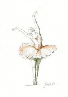 Original Drawing Watercolor Painting of Ballerina by EwArtStudio Ballerina Drawing, Ballet Drawings, Ballerina Painting, Dancing Drawings, Art Drawings, Ballerina Pink, Pink Tutu, Image Deco, Sketch Inspiration