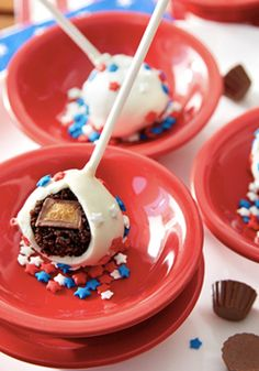 Give your 4th of July party guests a delightful surprise with this playful dessert recipe from Inspired Gathering! These Secret Center Chocolate Peanut Butter Cake Pops are more than just a kid-friendly dessert; they're truly festive and delicious for all of your family and friends. Click to check out this fun, patriotic treat!