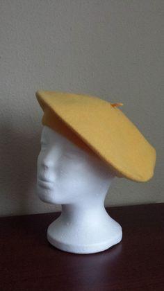 Żółty beret nie moherowy - Lady-Kate23 - Czapki i kapelusze