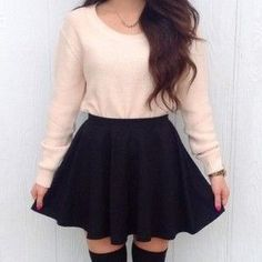 Black skater skirt, Light pink sweater, Knee high black socks
