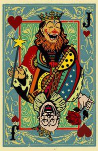 "Two vintage looking clowns designed as a playing card offering up their sweet style of magic and humor. They appear on a joker's card.Digitally printed on heavy weight, archival paper, 11"" x 17"".  Roxy's Tee Parlour"