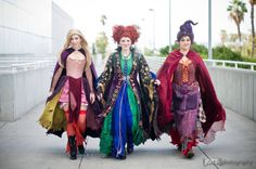 cosplayadoration:  Hocus Pocus. / Costumes: Castle Corsetry / Models: Birds of Play as Winifred and Sarah Sanderson, Chrissy Lynn as Mary Sanderson & Strange Like That Cosplay as Billy Butcherson / Photographer: Joits Photography