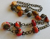 Falling Leaves Maple Turquoise Antique Brass Handmade Beaded Necklace