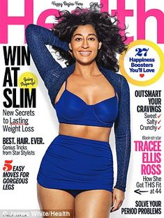 At 44 Tracee Ellis Ross is more comfortable in her skin than ever. This month, the charismatic Blackish matriarch graces the cover of Health, looking fit in a skintight sportswear while posing playfully.