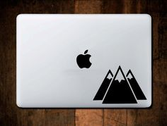 Three Mountains Decal, Macbook Decal, Laptop Decal, Laptop Stickers, Mountain Decal, Mountain Sticker by NebraskaVinyl on Etsy