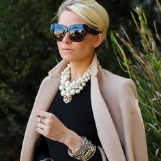 Inspiration du jour ... My go to necklace is a large strand of mixed pearls.  Small and large all clustered together in one large necklace!  I absolutely love how @blaireadiebee has mixed a monogram in with hers and I am inspired to try it this weekend for graduation. I will need to order a @moonandlola gold one for later and sport my ML tortoise one for now.  But I love pearls and tortoise together!  They will get along perfectly!  #inspirationdujour2015 #classic #pearls #monogram