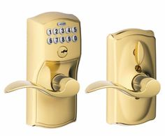Home Keyless Entry Door Knob Electronic Keypad Schlage Security Lock Light Brass #Schlage