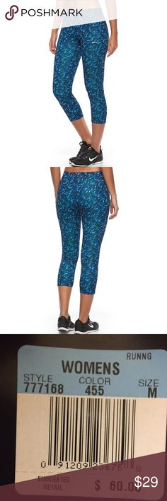 Nike Pronto Essential Dri-FIT Capri Running Tights Brand new with tags. Women's Nike Pronto Essential Dri-FIT Capri Running Tights, Blue, Medium Original $60.00  PRODUCT FEATURES: Perfect for high-impact exercise Moisture-wicking technology Allover sublimated print Mesh back panel Back zip pocket  FIT & SIZING: Midrise sits above the hip Fitted from hip to hem Drawcord elastic waistband  FABRIC & CARE: Polyester, spandex Nike Pants Capris