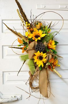Fall Sunflower Door Swag by SimpleSouthernDesign on Etsy, Christmas Mesh Wreaths, Thanksgiving Wreaths, Holiday Wreaths, Door Wreaths, Sunflower Arrangements, Fall Arrangements, Door Swag, Summer Wreath, Diy Wreath