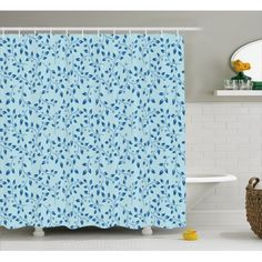 Ambesonne Leaves Shower Curtain, Blue Ornate Silhouette Leaves with Berries Rustic Country Life Inspirations, Cloth Fabric Bathroom Decor Set with Hooks, Long, Pale Blue Life Inspiration, Bathroom Inspiration, Bathroom Decor Sets, Rustic Bathrooms, Shower Curtain Sets, Country Life, Curtains, Interior Design, Hooks