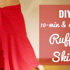 DIY 10 minute no sew ruffle skirt