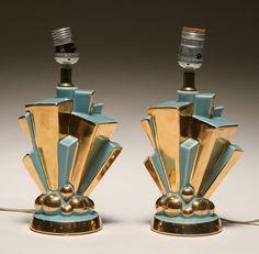 Pair Cubist Art Deco glazed pottery lamps with gilt surfaces.