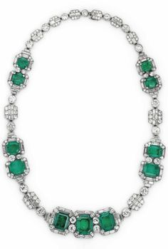 JOSEPH CHAUMET - AN ART DECO EMERALD AND DIAMOND NECKLACE, CIRCA 1930. With French assay marks for platinum, maker's mark JC for Joseph Chaumet. Formerly the property of Baroness Margaret Thatcher. #Chaumet #ArtDeco #necklace