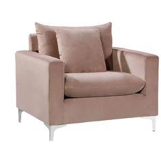 #ContemporaryLivingRoomFurniture Living Room Sets, Rugs In Living Room, Living Room Furniture, Modern Furniture, Pink Velvet Chair, Velvet Armchair, Meridian Furniture, Deep Seat Cushions, All Modern