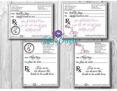 Prescription Pad Invitation Digital File by LavishbyTalia on Etsy