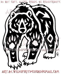 Navajo Grizzly Bear Tribal Design by WildSpiritWolf on DeviantArt American Indian Art, Native American Art, American Indians, American History, Egyptian Symbols, Indian Symbols, Mayan Symbols, Viking Symbols, Viking Runes