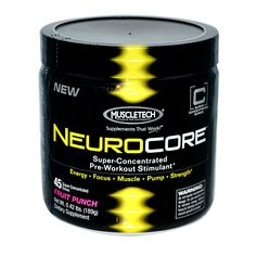 Muscletech, NeuroCore, Super-Concentrated Pre-Workout Stimulant, Fruit Punch, 0.42 lbs (189 g)