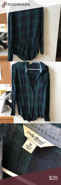 NWOT Lucky Brand Bungalow Plaid Shirt /back detail Super soft fabric. Never worn. Has been hanging in my closet for a few months now... I have WAY too many flannels. True to size. Perfect condition. Make an offer. Lucky Brand Tops Button Down Shirts