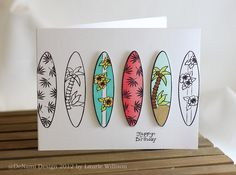 DeNami Birthday Surfboards card by @Laurie Willison