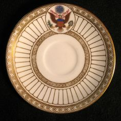 Theodore Roosevelt, Jr., also known as T.R. or Teddy, was the 26th President of the United States (1901-1909). He and First Lady Edith Roosevelt selected Wedgwood, imported by Van Husen Charles Company.  This is one of a total of 120 pieces selected by The First Lady in 1903. She chose from among several English and Porcelain samples. The only dramatic change being the addition of the Great Seal of The United States.